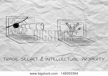 Pirate Laptop With With Telescope Spying On Trade Secrets