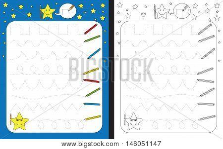 Preschool worksheet for practicing fine motor skills - tracing dashed lines