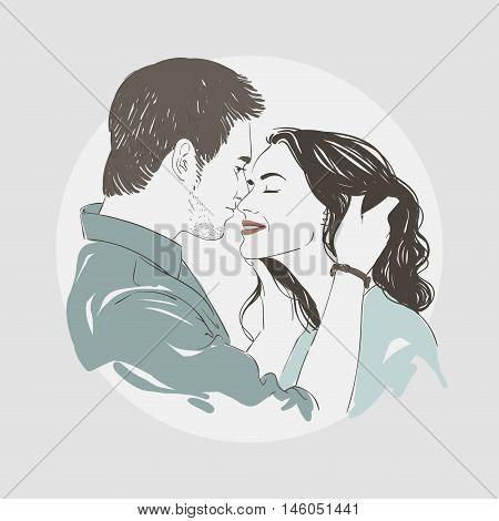 Image Of A Loving Couple Kissing. Vector Han Drawn Illustration.