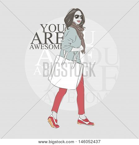 Beautiful Hipster Young Woman In A Fashion Jacket And Glasses With Big Bag And Scaf. Hand Drawn Illu