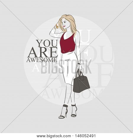 Beautiful Hipster Young Woman In A Red Blouse, White Skirt With Bag On High Heels. Hand Drawn Illust