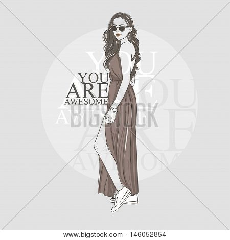 Beautiful Hipster Dark Long Hair Young Woman In Summer Clothes And Glasses. Hand Drawn Illustration.