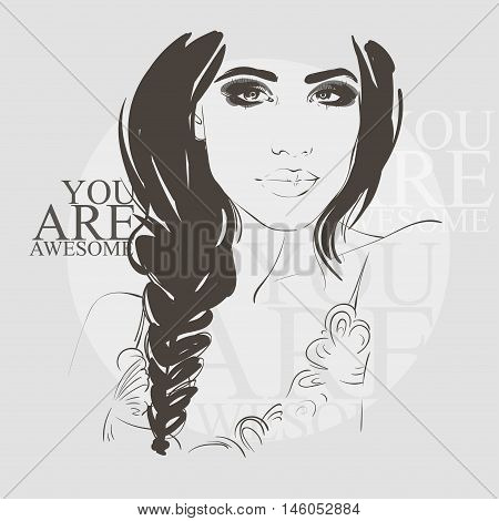 Beautiful Woman With Braid Hair Style And Smokey Eyes Make Up. Sketch Vector Illustration Eps 10