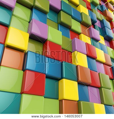 Colorful cubes with rounded edges 3D background. 3D rendering.