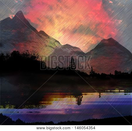 Dark mountain landscape with lake, trees and torrents of rain. Red dramatic sky with pouring rain, silhouettes of trees reflected in water and mountains peaks