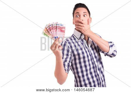 Young man shocked about cost explosion and price increase