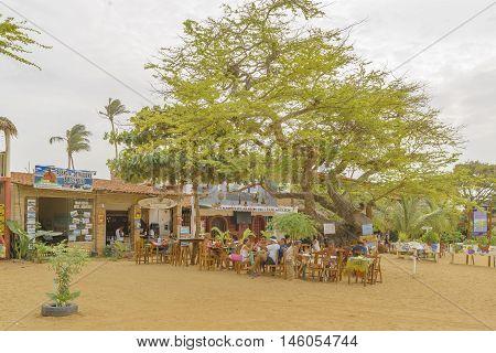 JERICOACOARA, BRAZIL, DECEMBER - 2015 - People at restaurant in Jericoacoara Brazil
