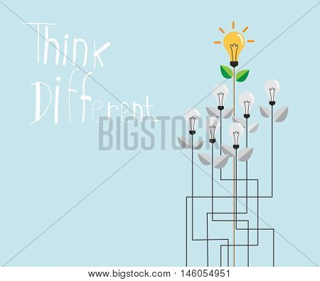 think different with fresh bulb idea think different concept