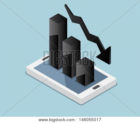 business concept bar chart down graph down down chart icon on mobile vector illustration
