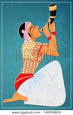 Vector design of man performing Bihu folk dance of Assam, India