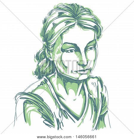 Vector portrait of sad attractive woman illustration of good-looking sorrowful female. Person emotional face expression.