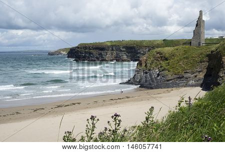 scenic view with beach cliffs and castle of ballybunion beach county kerry ireland