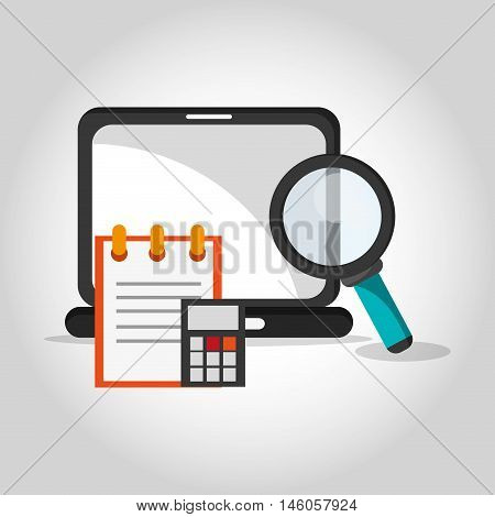 flat design laptop with magnifying glass calculator and notepad telecommunication related icons vector illustraiton