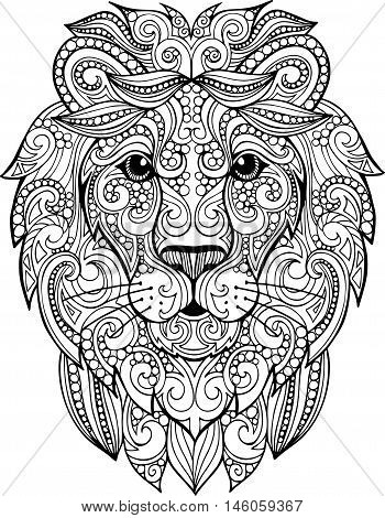 Hand drawn doodle ornate lion illustration. Decorative ornate vector lion head drawing for coloring book