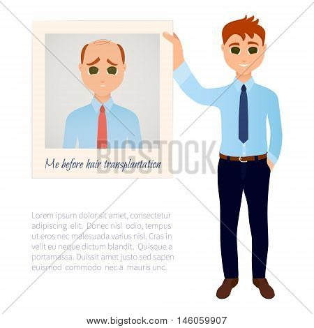 Man with great thick hair showing his old photo before hair treatment and hair transplantation. Male hair loss design template. Before and after medical concept. Vector illustration.