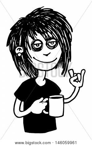 Heavy metal music fan, metal head, character, drawn, with a cup of coffee, and signing devil horns, isolated on white, vector illustration