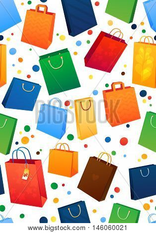 Sealess pattern. Sale Illustration of paper shopping bags.
