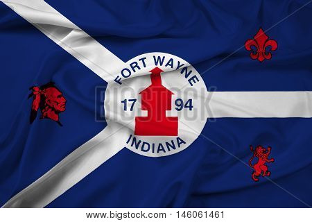 Waving Flag of Fort Wayne Indiana USA, with beautiful satin background. 3D illustration