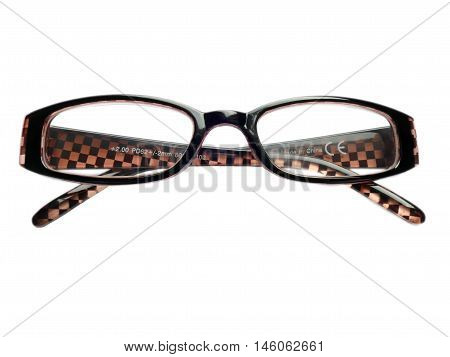 Pair Eye Glasses, Reading Glasses, Eyeglass Frames, 2.0 Isolated On White. Made In China.