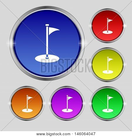 Golf Icon Sign. Round Symbol On Bright Colourful Buttons. Vector