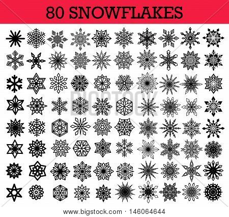 Vector Snowflakes Isolated Set. Collection of different snow flakes, simple and intricate shape, outline and line design elements. For Christmas decoration, New Year card, sales banner, winter icon.