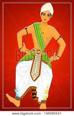 Vector design of man performing Sattriya classical dance of Assam, India