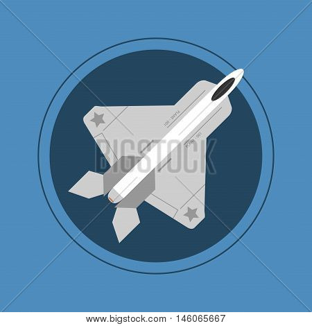 flat design single fighter jet vector illustration