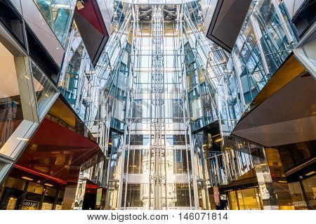 London UK - August 06 2016 - The central lifts of the shopping centre in One New Change building