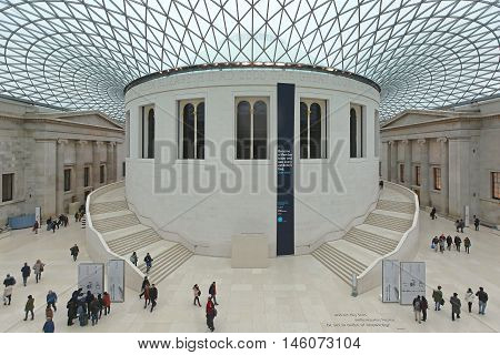 LONDON UNITED KINGDOM - JANUARY 28: Great Court in British Museum in London on JANUARY 28 2013. Interior view of Great Court Hall in British Museum in London United Kingdom.