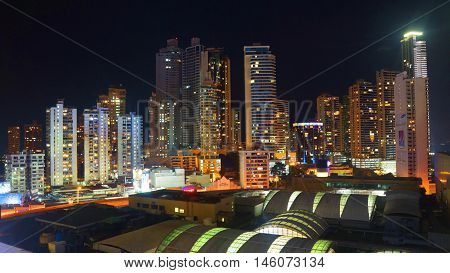 Ciudad de Panama, Panama / Panama - December 15 2014: Night panoramic view of downtown of Panama City