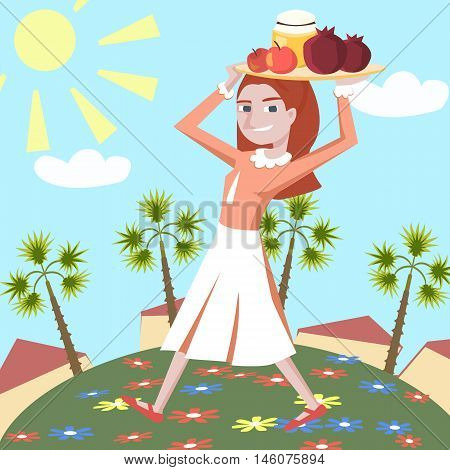 jewish girl with symbols rosh hashanah - colorful vector cartoon illustration