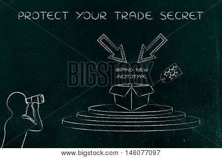 Confidential Prototype & Man Spying On It, Concept Of Trade Secrets
