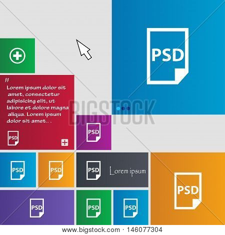 Psd Icon Sign. Buttons. Modern Interface Website Buttons With Cursor Pointer. Vector