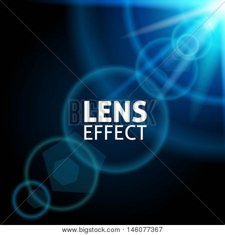 Realistic collimated light beam. The effect of the lens flare. The blue glow bright lighting. Vector illustration.