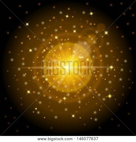 Bright high-quality gold pattern with the effect of sunlight perfect for the New Year and Christmas. Designed to set a bright lens effect lights and magical illuminations. Vector illustration.