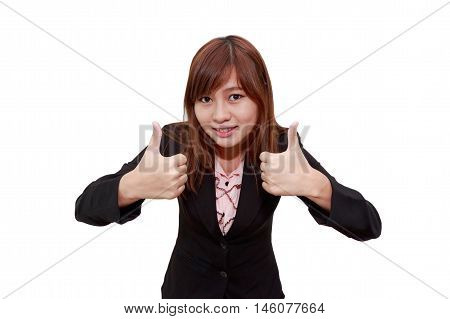 Smiling businesswoman holding thumps up isolated on white background