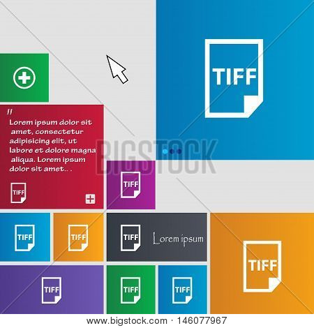 Tiff Icon. Sign. Buttons. Modern Interface Website Buttons With Cursor Pointer. Vector