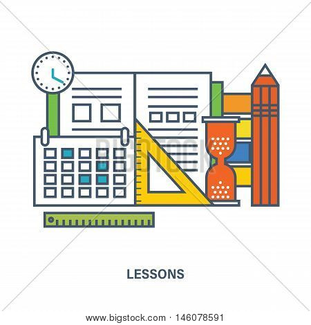 Concept of school equipment and school lesson. Color Line icons. Flat Vector illustration