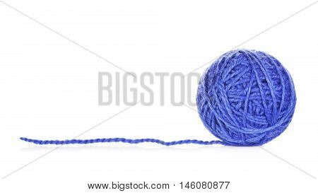 blue yarn ball, isolated on white background