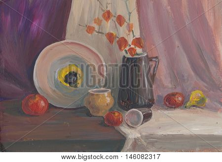 The still life with jud fruts Apple physalis