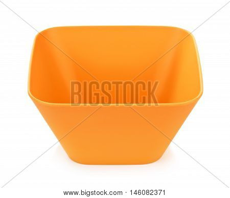 orange bamboo bowl, isolated on white background