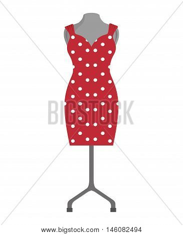 red dress. sewing garment fashion clothing. Vector illustration