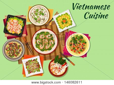 Vietnamese cuisine seafood salad and soup icon served with crispy lamb, chicken soup with shiitake mushrooms, beef noodles, mango salad, spinach salad with shrimps, eggplant stew