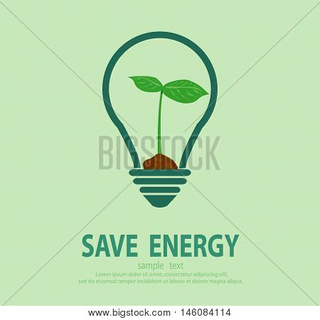 Bulb light with green tree inside, Eco green energy, save energy , Save the World, Vector Illustration