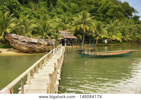Wooden jetty at local village Ream National Park Cambodia Southeast Asia