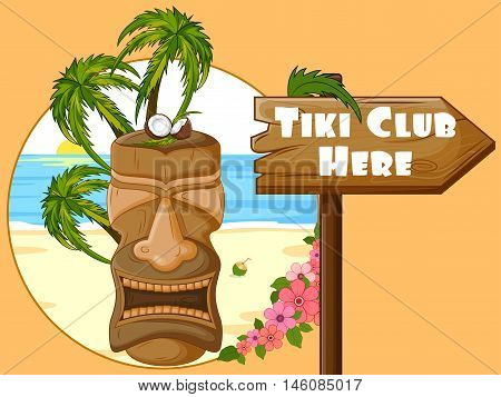 Vector design of Tiki Club poster with tribal mask