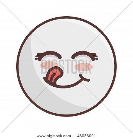 kawaii cartoon face hapiness expression emoticon vector illustration