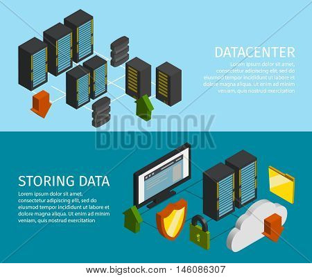 Two horizontal datacenter banner set with descriptions of storing data and datacenter vector illustration poster