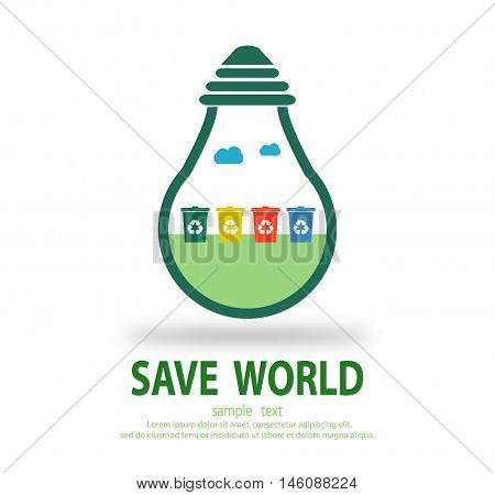 Bulb light with Recycle Bin inside, Eco green energy, save energy , Save the World, Vector Illustration