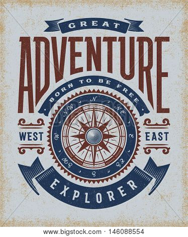 Vintage Great Adventure Typography.  T-shirt and label graphics in woodcut style. Editable EPS10 vector illustration.